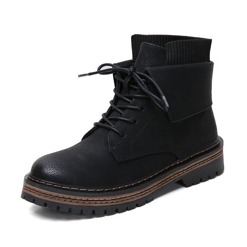 Best Low Heel Short Round Head Front Lace Casual Comfortable Boots