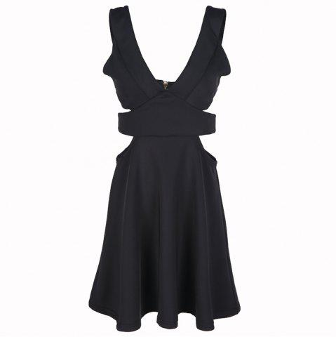 HAODUOYI Women's Sexy Deep V Open Back Fashion Dress Black