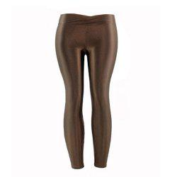 New Low Waist Stretch Slim Gloss Pants Thin Section Candy Color Nine Points -