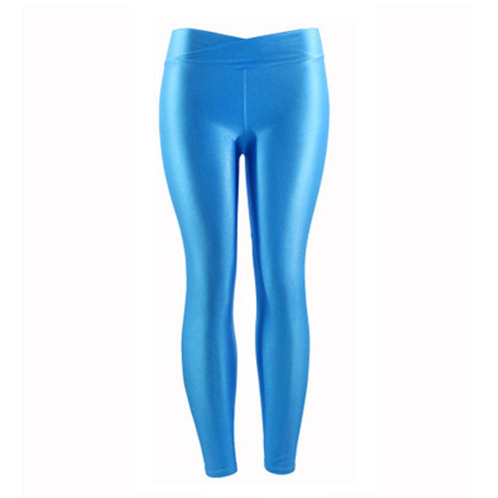 Cheap New Low Waist Stretch Slim Gloss Pants Thin Section Candy Color Nine Points