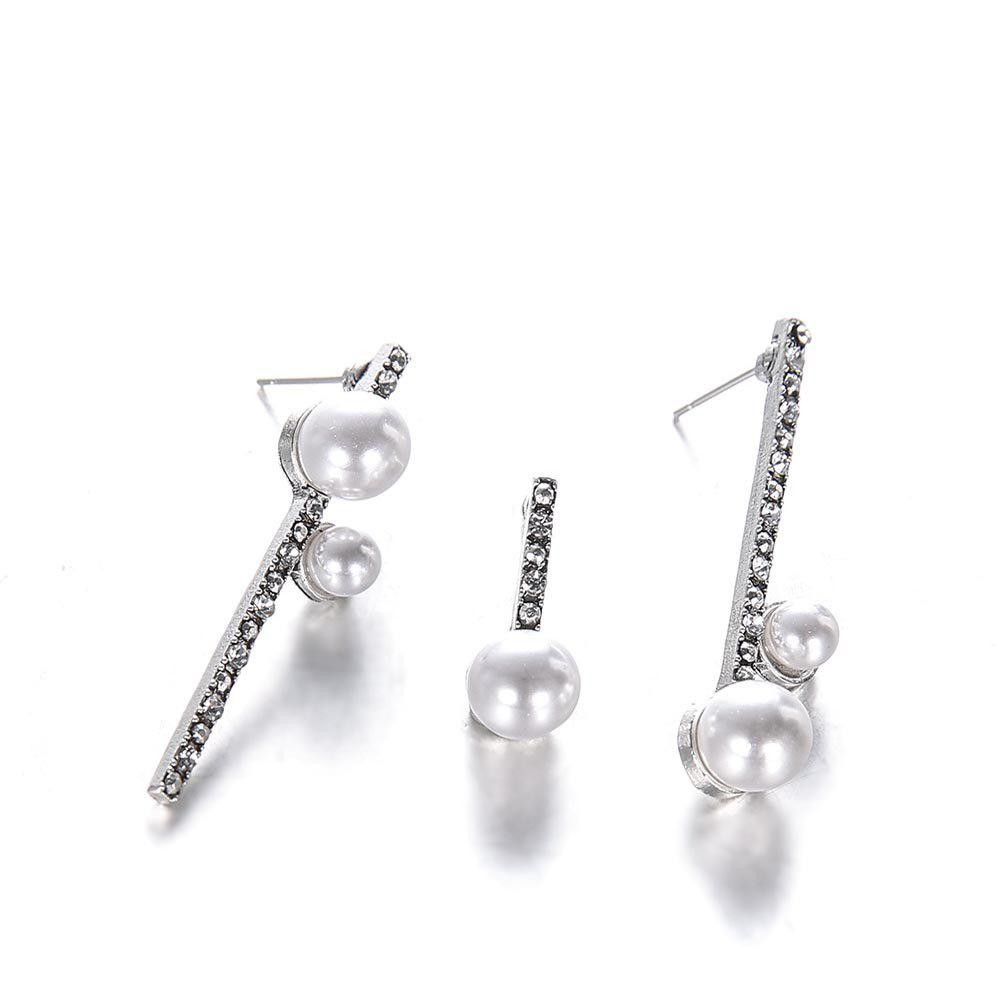 Trendy Simple and Versatile Geometric Round Pearl-Studded Asymmetric Female Earrings