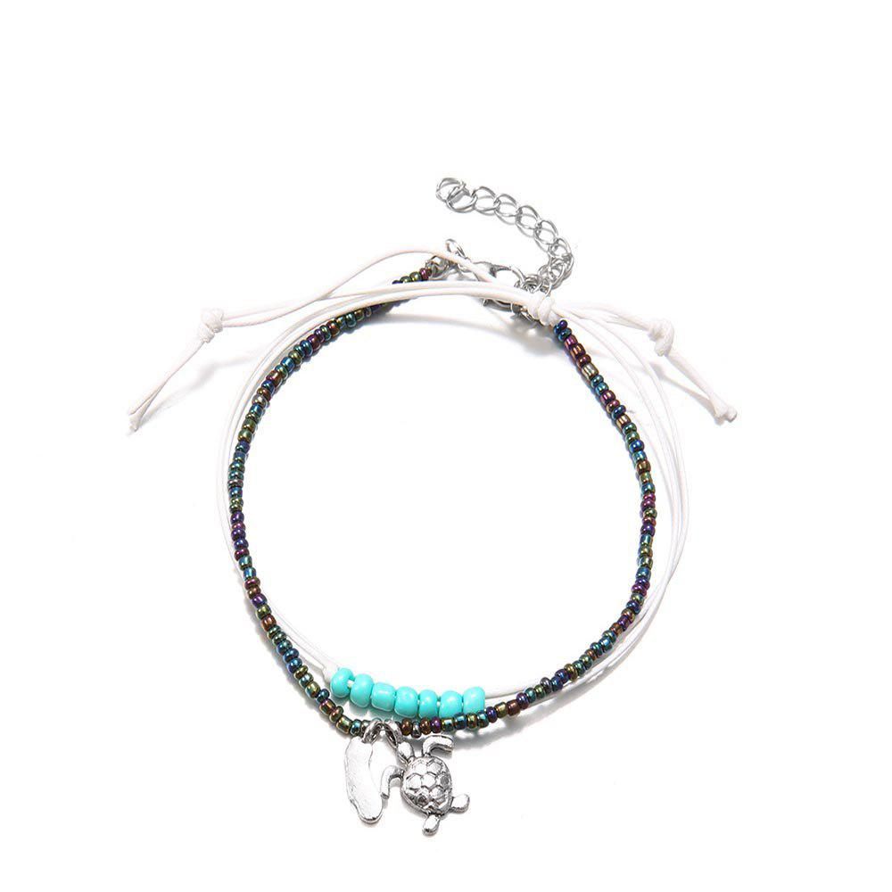 Outfit Bohemian Rice Beads Multi-Layer Handmade Anklets Vintage Fashion Turtle Anklets