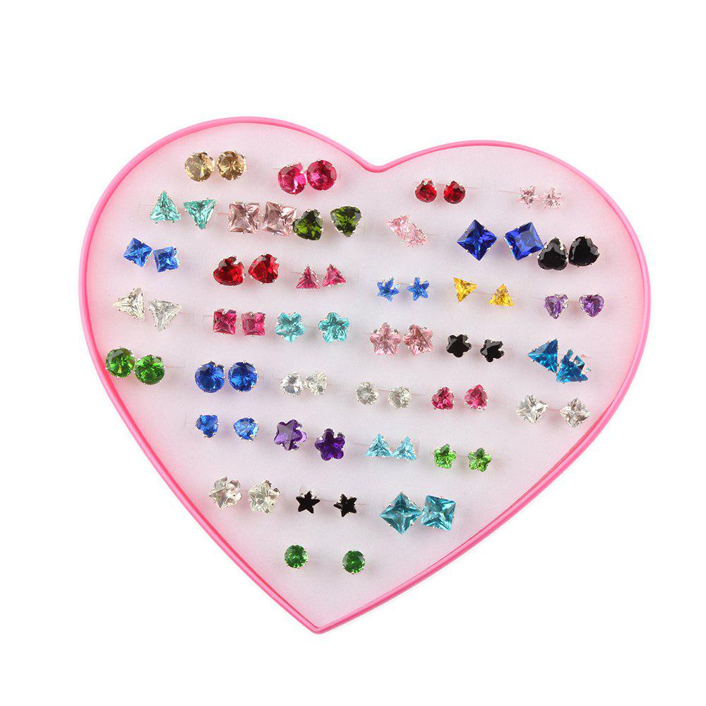 New Fashion Hearts Boxed 36 Pairs of  Zircon Alloy Earrings