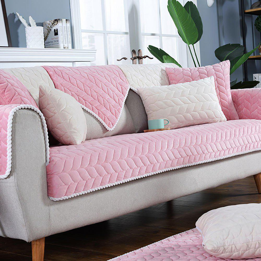 Outfits Pure Color Short Plush Cloth with Anti-Skid Flannel Sofa Armrest