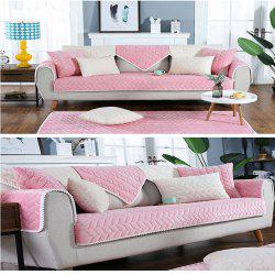 Pure Pink Short Plush Fabric Anti-Skid Flannel Sofa Cushion -