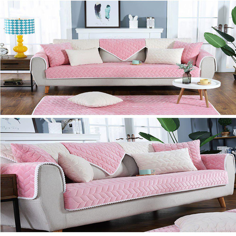 Chic Pure Pink Short Plush Fabric Anti-Skid Flannel Sofa Cushion