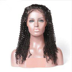 Deep Curly Free Part Natural Black Color Human Hair Lace Front Wig For Ladies -