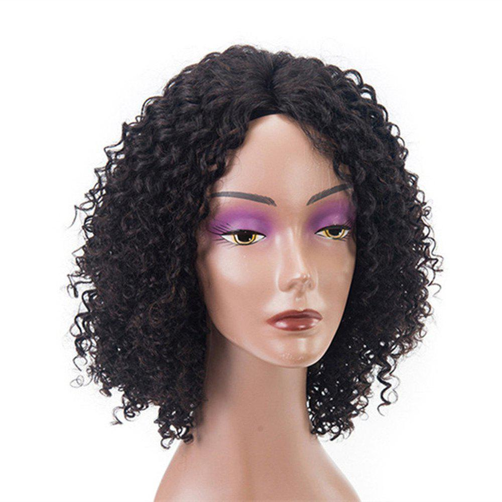 Chic Short Curly Human Hair Lace Front Glueless Wig Natural Black Color