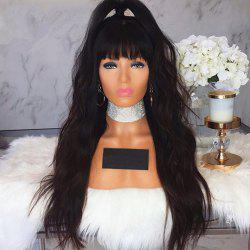 Long Natural Wave With Bang Human Hair Lace Front Glueless Wig -