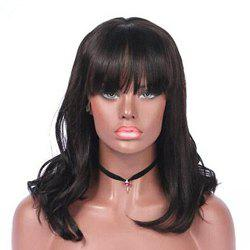 Natural Wave With Bang Natural Black Color Human Hair Lace Front Glueless Wig -