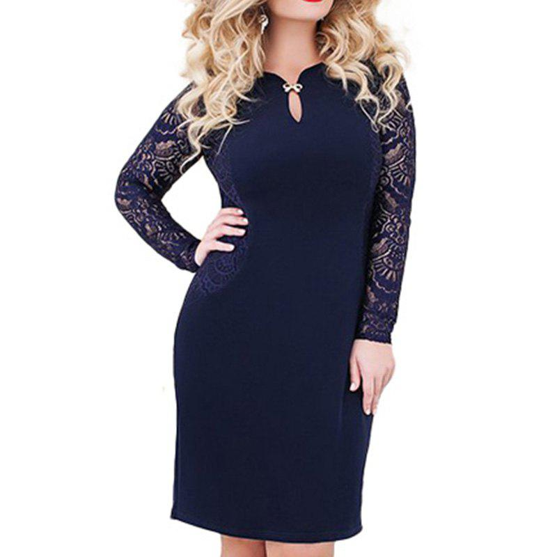 eb21398402 2018 5XL 6XL Plus Size Lace Dress Long Sleeve Sexy Office Lady Dresses Big  Size - 4xl