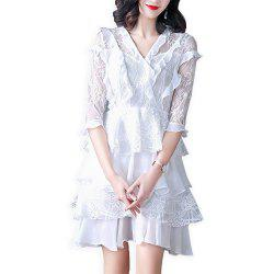 UILY Lace Slimming Dress with Lotus Leaf Edge -
