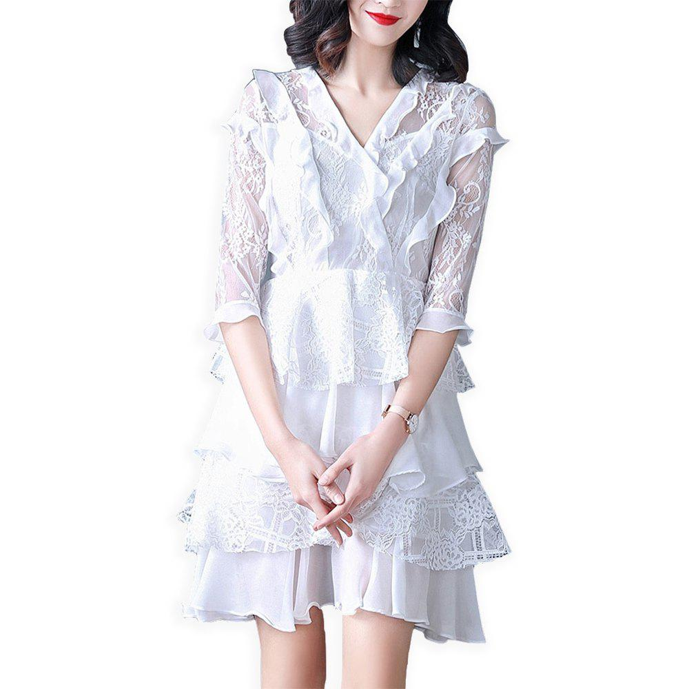 Hot UILY Lace Slimming Dress with Lotus Leaf Edge