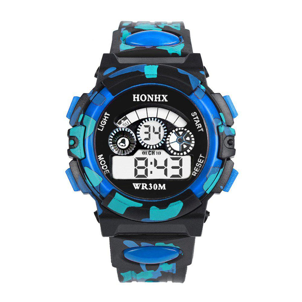 Trendy HONHX Men Camouflage Waterproof Outdoor Sports Utility Electronic Watch