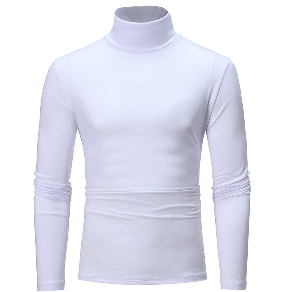 f58bf81a7041 Discount Men's Turtleneck Solid Color Long Sleeve Casual Slim T-Shirt