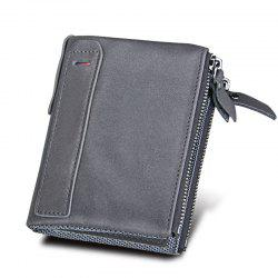 Men Wallet Genuine Leather Coin Purse Credit Cards Holder Double Zipper -