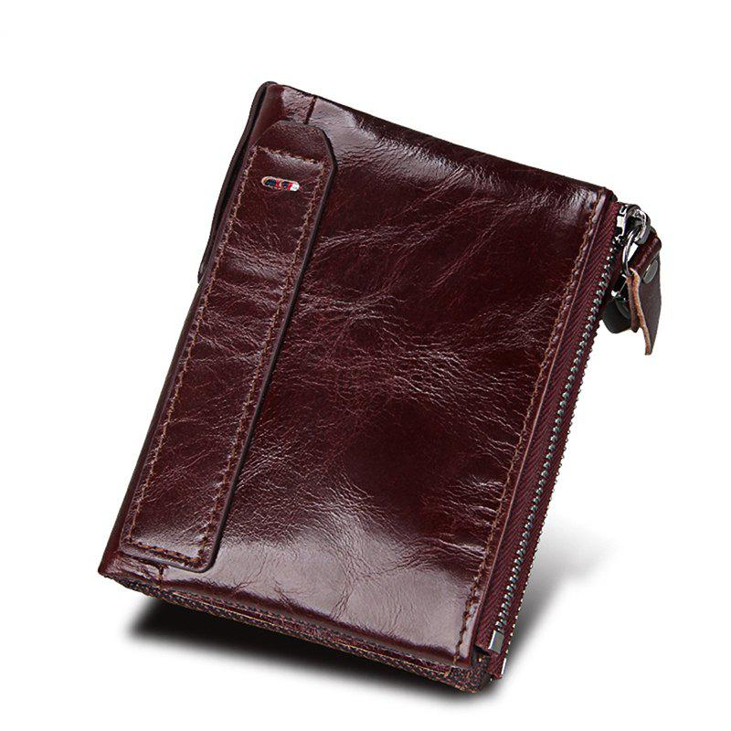 Best Men Wallet Genuine Leather Coin Purse Credit Cards Holder Double Zipper