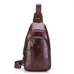 Men Genuine Leather Crossbody Fashion Small Shoulder Casual Chest Messenger Bag -
