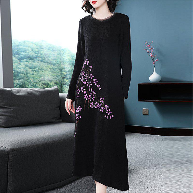 Store Round Collar A Pleated Loose Dress