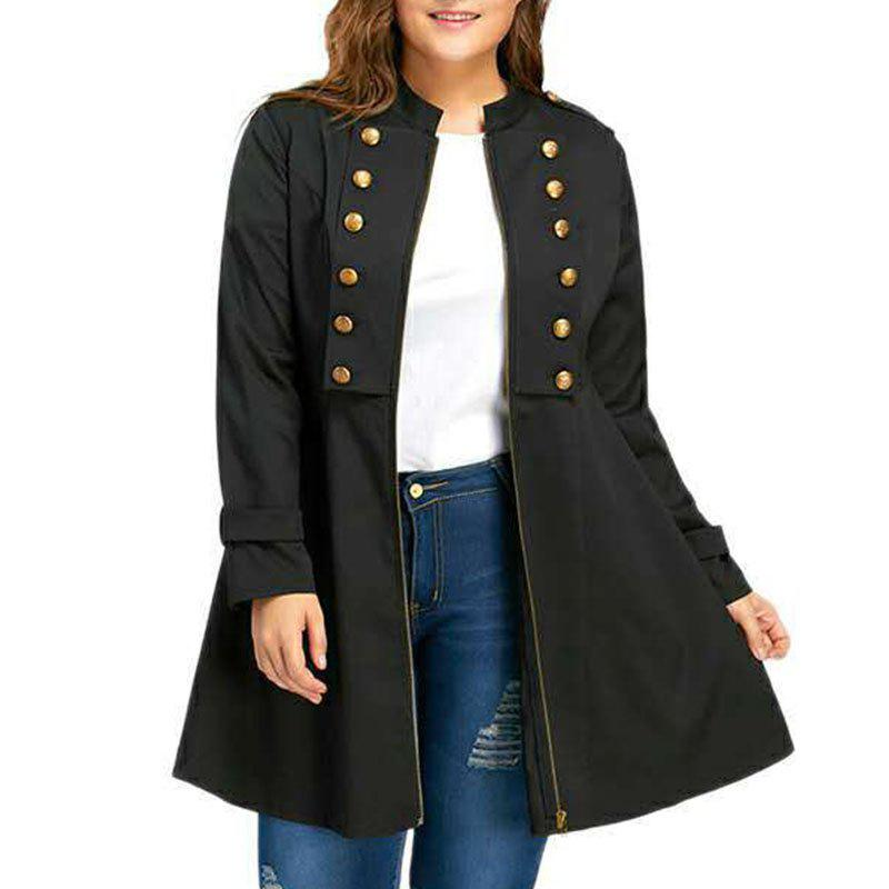 Store Solid Color Double Breasted Trench Coat