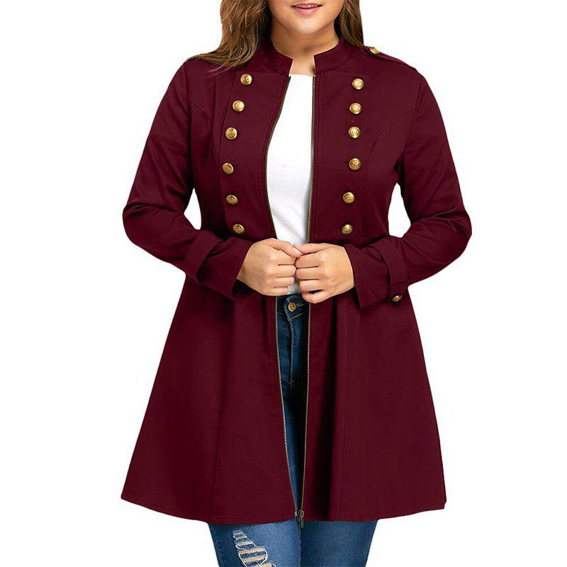 Shop Solid Color Double Breasted Trench Coat