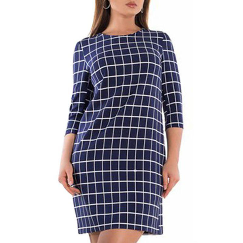 Col rond manches 3/4 robe de paquet à carreaux Cadetblue 5XL