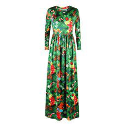 Digital Printing New Round Neck Autumn and Winter Sets of Long-sleeved Dress -