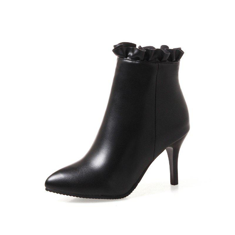 Online Large Size High Heel Pointed Top Zipper Professional Short Boots