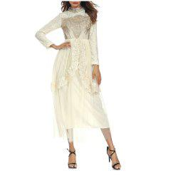 A Long-Sleeved Lace Dress -