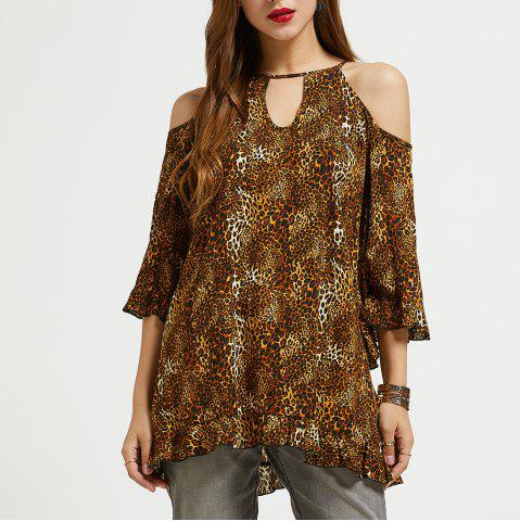 SBETRO Leopard Print Shirt Keyhole Neck Cold Shoulder 3/4 Bell Sleeve Tunic Top