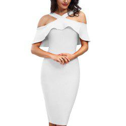 Dress with Short Sleeves and Flounces -