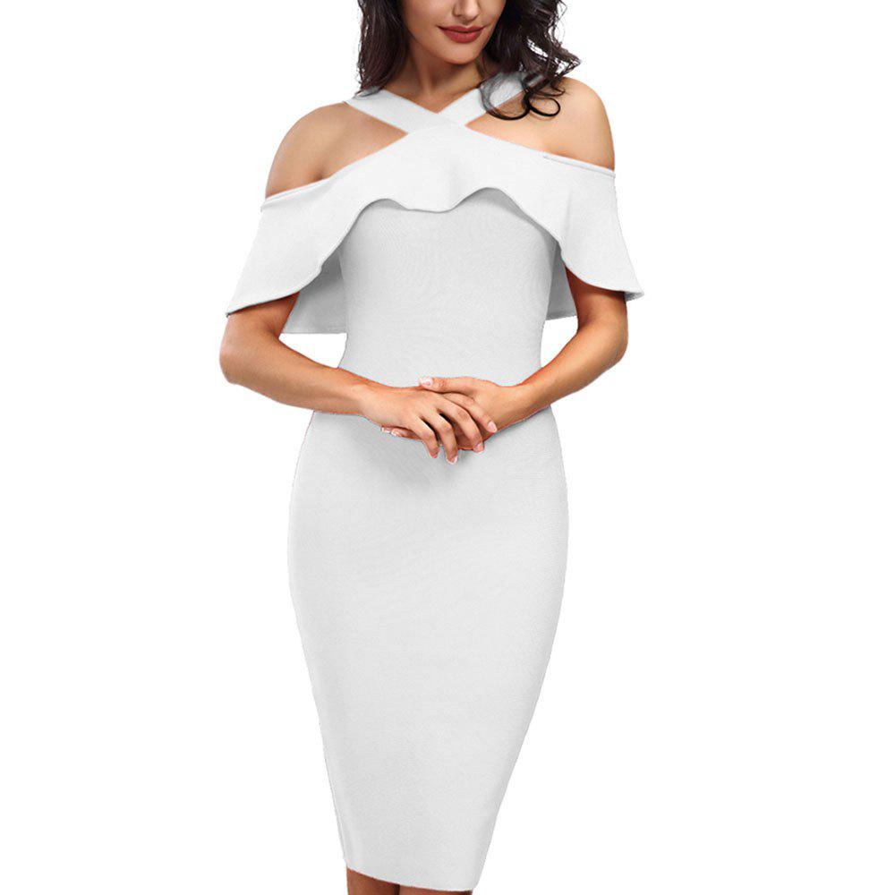 Cheap Dress with Short Sleeves and Flounces