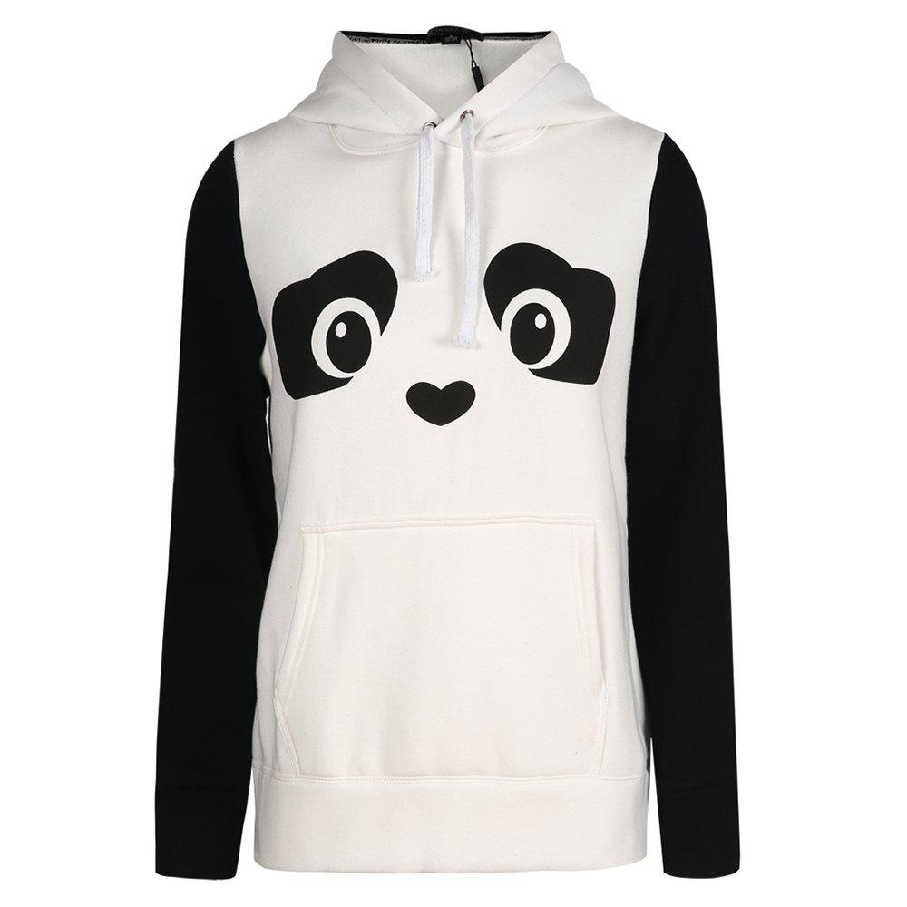 Best HAODUOYI Women'S White Panda Print Black Color Block Pom Hoodie White
