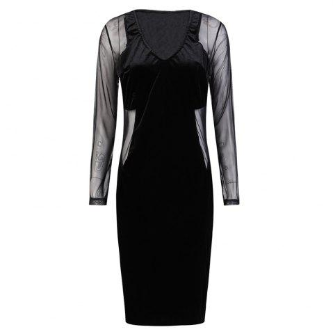 HAODUOYI Women's Sexy Deep V Slim Pack Hip Long Sleeve Dress Black