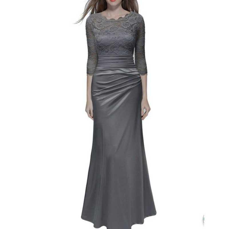 New Elegant   Dress Lace Hook Long-Sleeved Wedding Dress Slim Tights