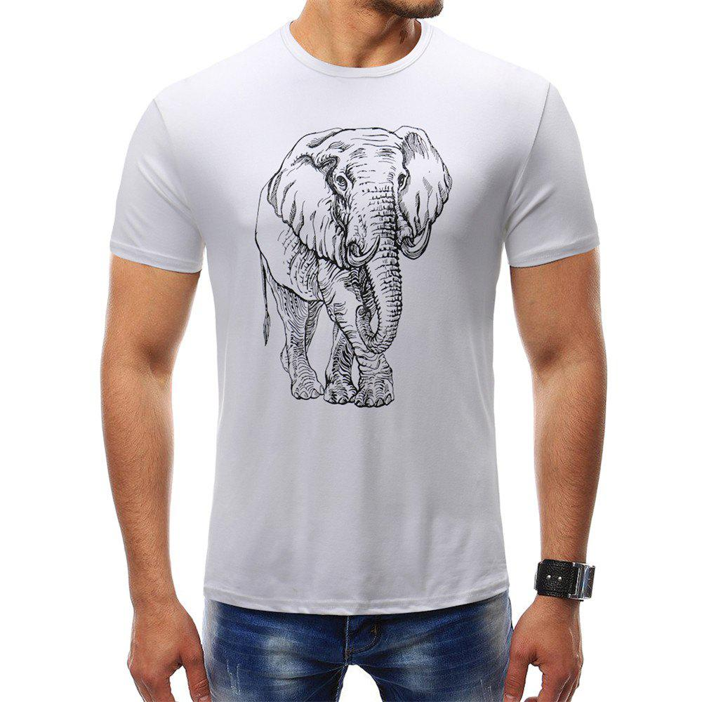 e53b37c7fc9a3c 2019 Men s Fashion Elephant Print Hip-hop T-shirt Round Neck ...