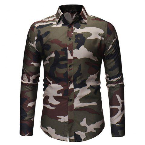 Men'S Fashionable Camouflage Shirt with Long Sleeves