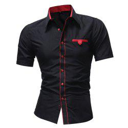 Men'S solid Color Lapel Short Sleeved Shirt -