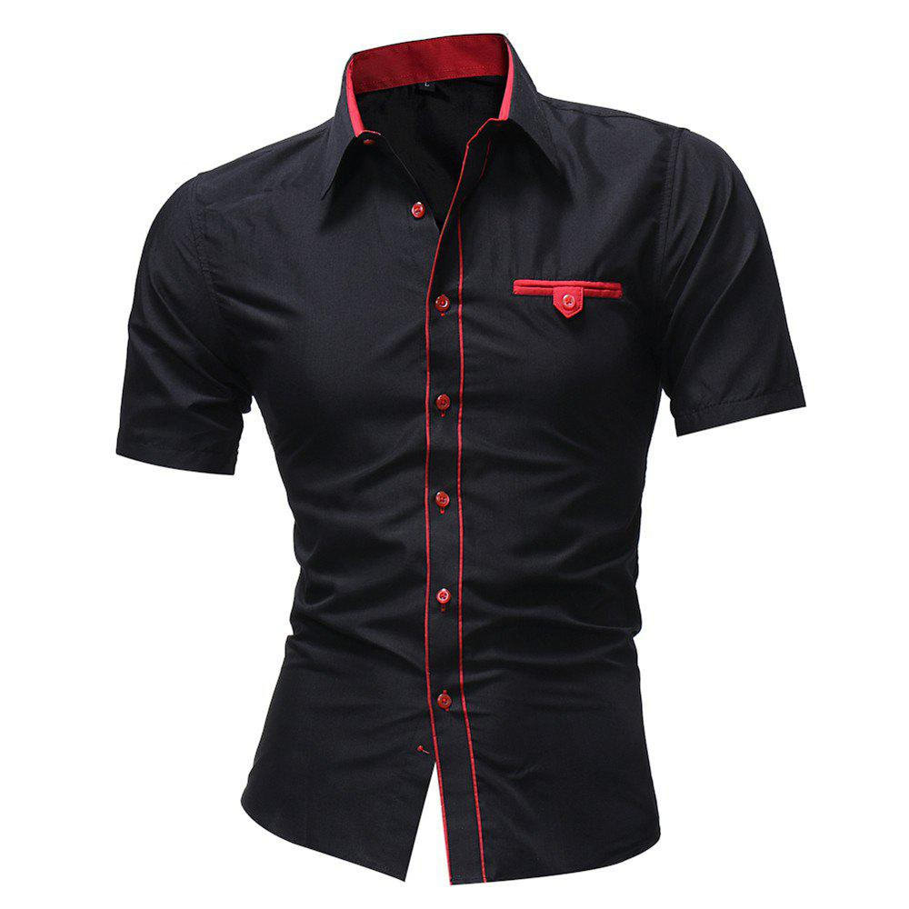 Buy Men'S solid Color Lapel Short Sleeved Shirt