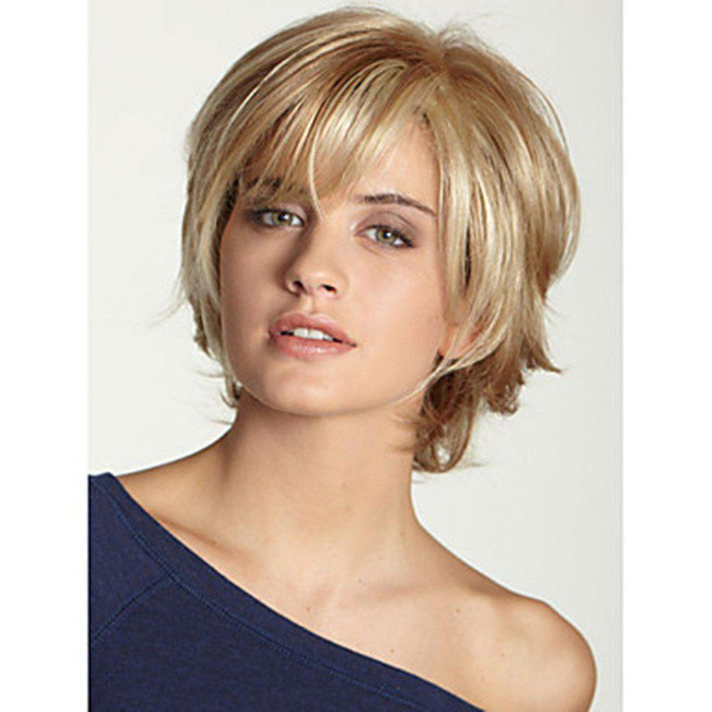 46% OFF Human Hair Capless Wigs Short Wavy Bob Haircut Blonde Wig | Rosegal