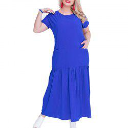 Solide 5XL 6XL grande taille Loose Women Dress - Bleu XL