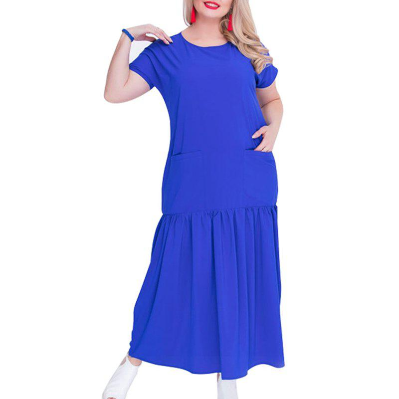 Solide 5XL 6XL grande taille Loose Women Dress Bleu 2XL