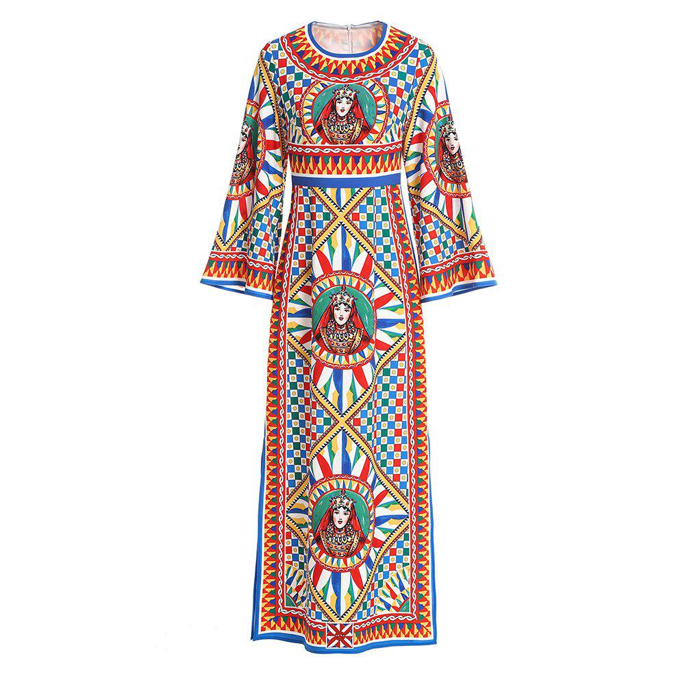 Unique 2019 New Positioning Printed Round Collar Long Sleeve High Waist Slimming Dress