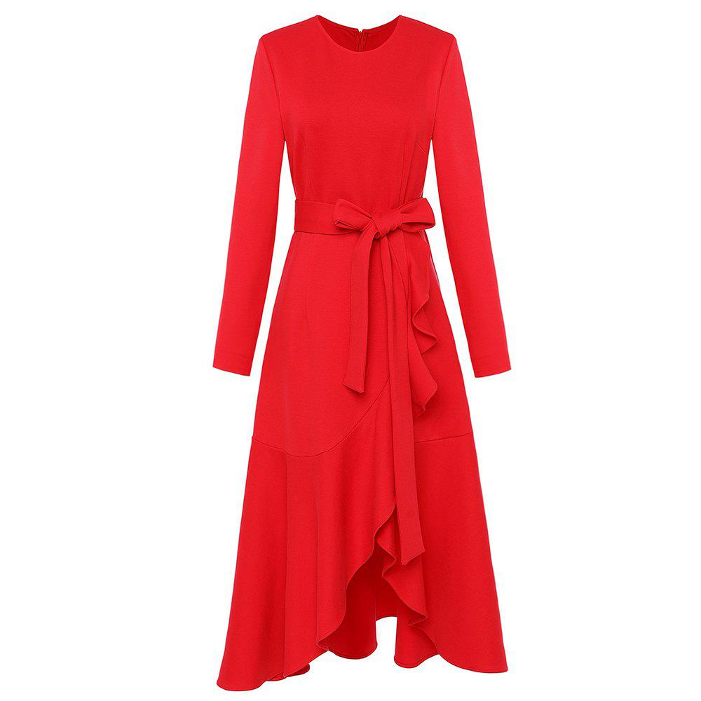 Outfits UILY Lotus Leaf Edge Long Sleeve Slimming Fishtail Dress