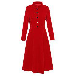 UILY British wind red velour long sleeve slimming dress -