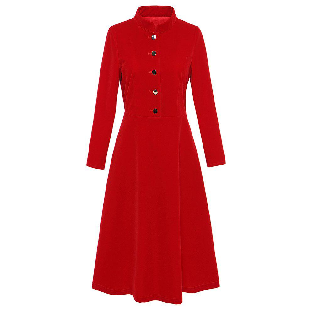 Fashion UILY British wind red velour long sleeve slimming dress