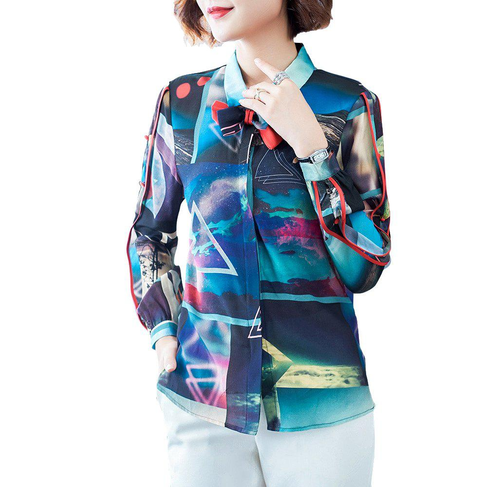 12d94695 Fashion Uily 2019 Spring Abstract Geometric Print Bow Tie Long Sleeve Silk  Shirt