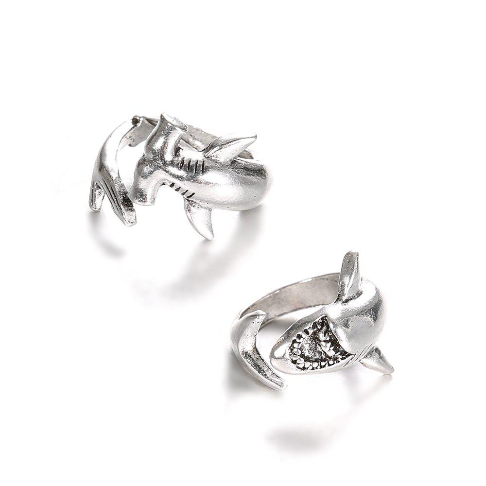 2 PCS Mens Shark Rings Set Alloy Unique Adjustable Animal Women Ring