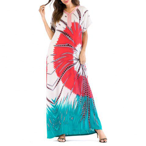Comfortable Casual Floral Printing Long Summer Dress Middle East Caftan