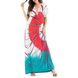 Comfortable Casual Floral Printing Long Summer Dress Middle East Caftan -